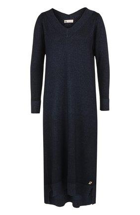 Вязаное платье-миди из смеси кашемира и шелка Colombo темно-синее | Фото №1