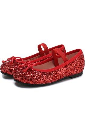 Детские балетки с отделкой глиттером и эластичной перемычкой Pretty Ballerinas красного цвета   Фото №1