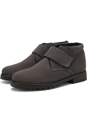 Детские замшевые ботинки с внутренней меховой отделкой Beberlis темно-синего цвета | Фото №1