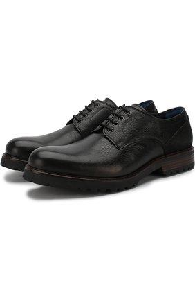 Кожаные дерби на шнуровке A. Testoni черные | Фото №1