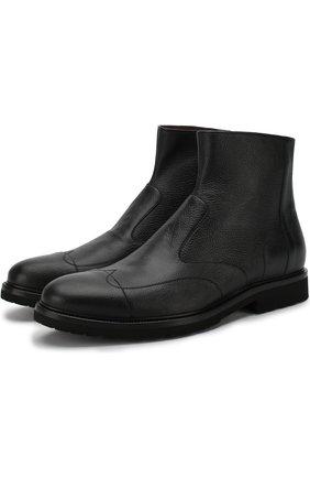 Высокие кожаные ботинки на молнии A. Testoni черные | Фото №1