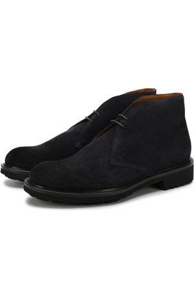 Замшевые ботинки на шнуровке Doucal's темно-синие | Фото №1