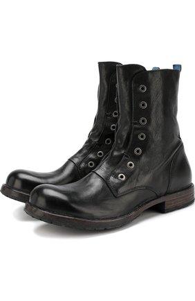 Высокие кожаные ботинки без шнуровки Moma черные | Фото №1
