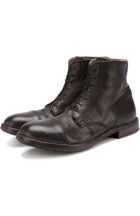Высокие кожаные ботинки на шнуровке с внутренней меховой отделкой Moma коричневые | Фото №1