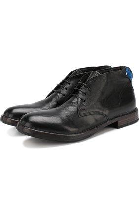 Кожаные ботинки на шнуровке Moma черные | Фото №1