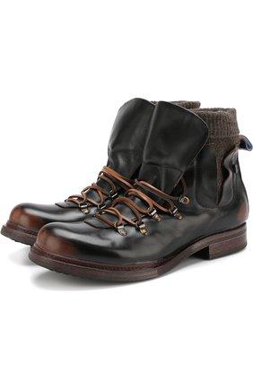 Высокие кожаные ботинки на шнуровке  Moma черные | Фото №1