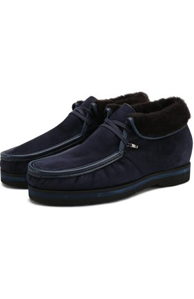 Мужские замшевые ботинки на шнуровке с внутренней меховой отделкой ZILLI темно-синего цвета, арт. M018/002 | Фото 1