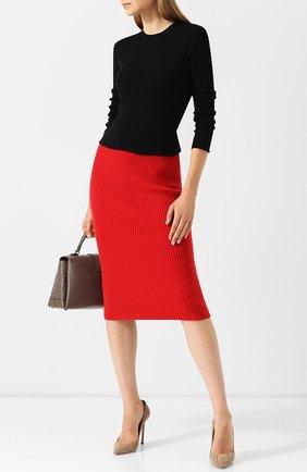 Кашемировая юбка-карандаш фактурной вязки Michael Kors Collection красная | Фото №1