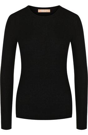 Кашемировый пуловер с круглым вырезом Michael Kors Collection черный | Фото №1