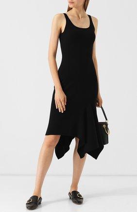 Шерстяное платье-миди асимметричного кроя Michael Kors Collection черное | Фото №1