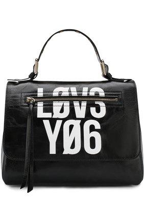 Кожаная сумка с принтом REDVALENTINO черная цвета | Фото №1