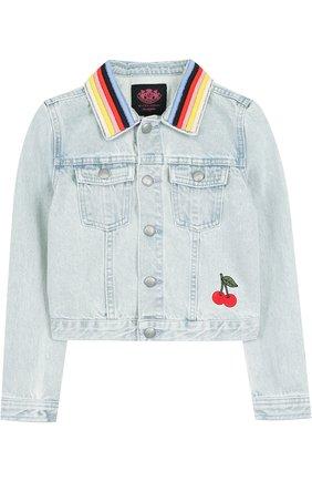 Джинсовая куртка с контрастной отделкой | Фото №1