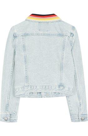 Джинсовая куртка с контрастной отделкой Juicy Couture голубого цвета | Фото №1
