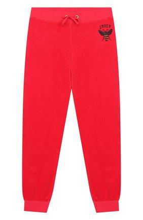 Хлопковые джоггеры с поясом на кулиске Juicy Couture красного цвета | Фото №1