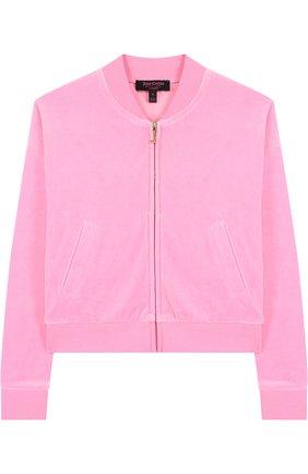 Хлопковый кардиган на молнии с принтом на спине Juicy Couture розового цвета | Фото №1