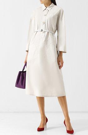 Хлопковое платье-миди с поясом и накладными карманами Bottega Veneta белое | Фото №1