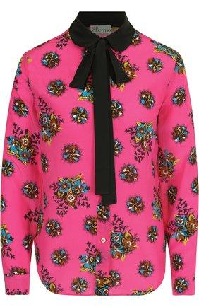 Женская шелковая блуза с принтом и воротником аскот REDVALENTINO, цвет фуксия, арт. QR0AB240/42D в ЦУМ | Фото №1