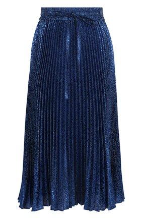 Плиссированная юбка-миди с металлизированной нитью REDVALENTINO синяя | Фото №1