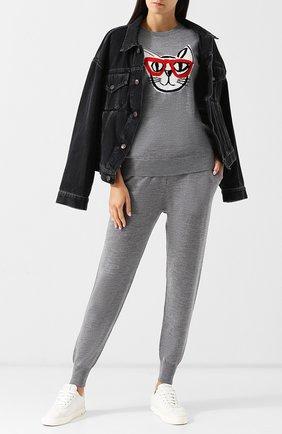 Шерстяной пуловер с декоративной вышивкой Markus Lupfer серый | Фото №1