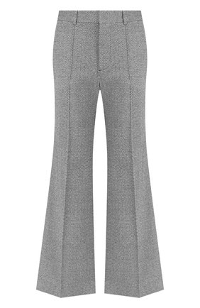Расклешенные брюки со стрелками из смеси хлопка и шелка See by Chloé серые   Фото №1