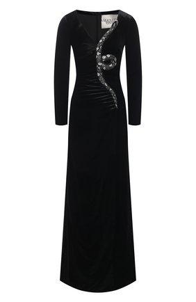 Бархатное платье-макси с декоративной отделкой | Фото №1