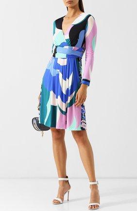 Платье-миди с V-образным вырезом и поясом Emilio Pucci разноцветное | Фото №1