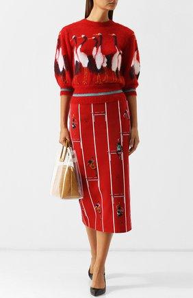 Пуловер с укороченным рукавом и декоративной вышивкой Stella Jean красный | Фото №1