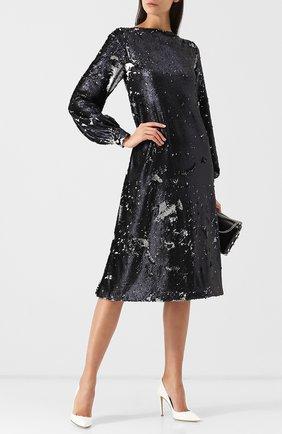 Платье-миди свободного кроя с пайетками Stella Jean темно-синее | Фото №1