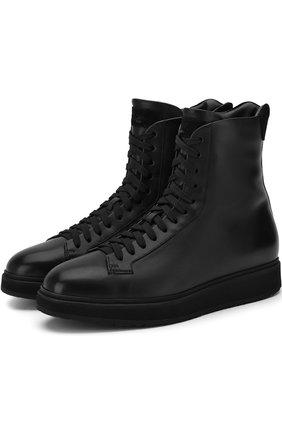 Кожаные ботинки с внутренней отделкой из меха | Фото №1