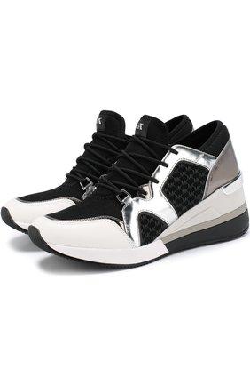 Комбинированные кроссовки Scout на платформе MICHAEL Michael Kors черные   Фото №1