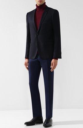 Кожаные оксфорды на шнуровке и с эластичными вставками Barrett темно-синие | Фото №1