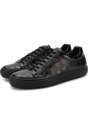 Кеды на шнуровке из кожи каймана Zilli черные | Фото №1