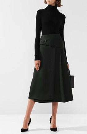Однотонная шерстяная юбка-миди Victoria Beckham зеленая | Фото №1