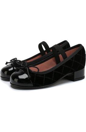 Текстильные туфли с лаковым мысом и бантами | Фото №1