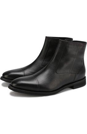 Кожаные ботинки на молнии с внутренней меховой отделкой Barrett черные | Фото №1