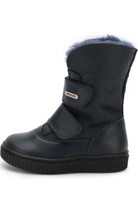 Детские кожаные ботинки с внутренней меховой отделкой и застежками велькро Missouri синего цвета | Фото №1