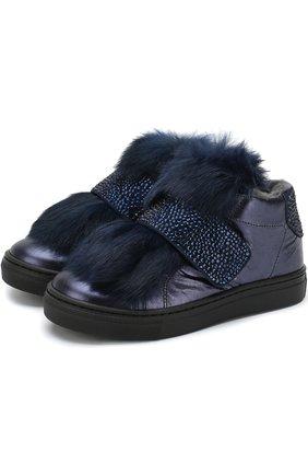 Детские кожаные ботинки с меховой отделкой и застежкой велькро Missouri синего цвета | Фото №1