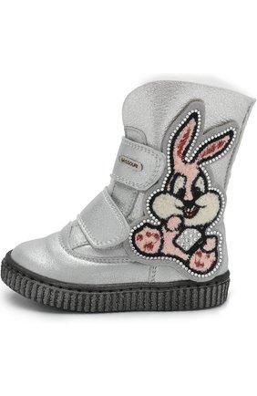 Детские кожаные ботинки с внутренней меховой отделкой и застежками велькро Missouri серебряного цвета | Фото №1