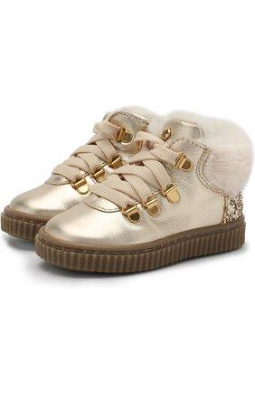 Детские кожаные ботинки с глиттером и внутренней меховой отделкой Missouri золотого цвета | Фото №1