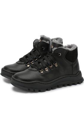 Детские кожаные ботинки с внутренней меховой отделкой Missouri черного цвета | Фото №1