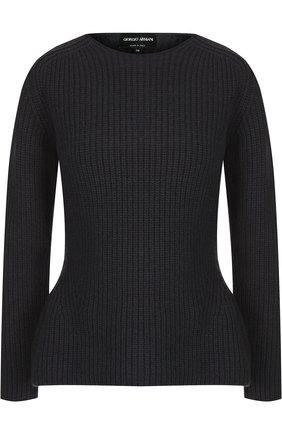 Вязаный шерстяной пуловер с круглым вырезом   Фото №1