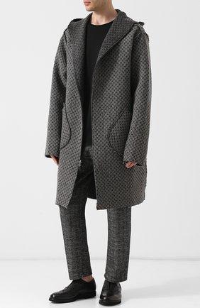 Пальто на молнии с капюшоном из смеси шерсти и хлопка Primordial is Primitive серого цвета | Фото №1