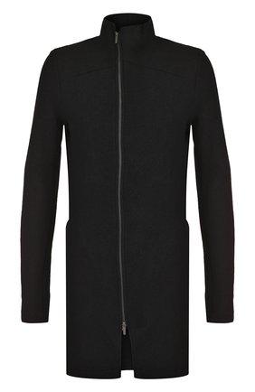 Шерстяное пальто на молнии с воротником-стойкой Primordial is Primitive черного цвета | Фото №1