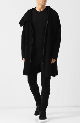 Шерстяное пальто на косой молнии с капюшоном Primordial is Primitive черного цвета | Фото №1