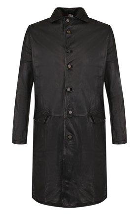 Однобортное кожаное пальто с отложным воротником Giorgio Brato черного цвета | Фото №1