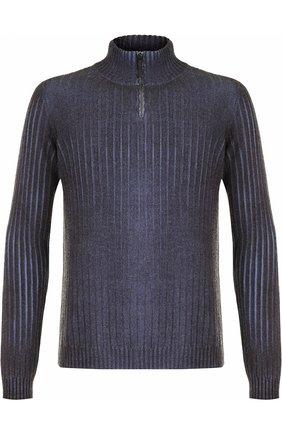 Джемпер из смеси шерсти и кашемира с воротником-стойкой на молнии Cividini темно-серый | Фото №1