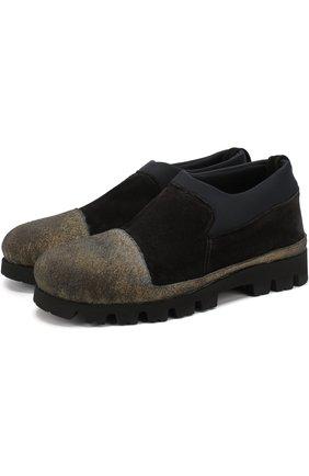 Кожаные ботинки с резиновым мысом Rocco P. черные   Фото №1
