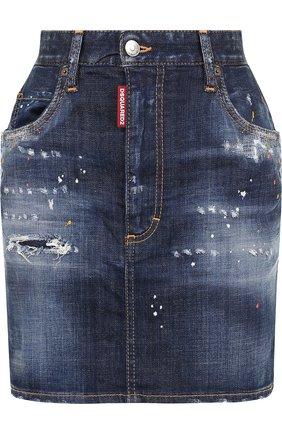 Джинсовая мини-юбка с потертостями Dsquared2 темно-синяя | Фото №1
