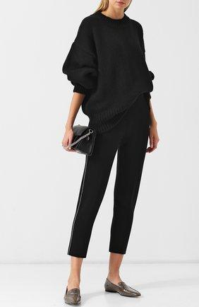 Укороченные шерстяные брюки с контрастной отделкой Tse черно-белые | Фото №1