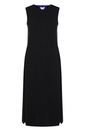 Шерстяное платье-миди с круглым вырезом Tse темно-синее | Фото №1